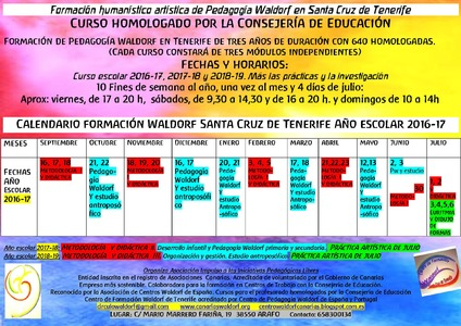 Curso homologado de formación en Pedagogía Waldorf 2016-2019. Centro de Formación Waldorf de Santa Cruz de Tenerife