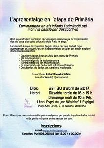 Taller: L'aprenentatge en l'etapa de Primària, impartit per Esther Brugués a l'Espai de Joc Waldorf l'Espígol